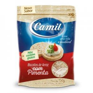 Mini Biscoito de Arroz Integral sabor Pimenta - 150g (Camil)